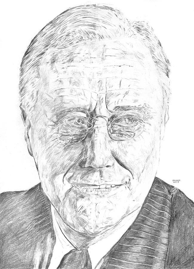 Franklin Delano Roosevelt Drawing - F.d.r. by Dennis Larson