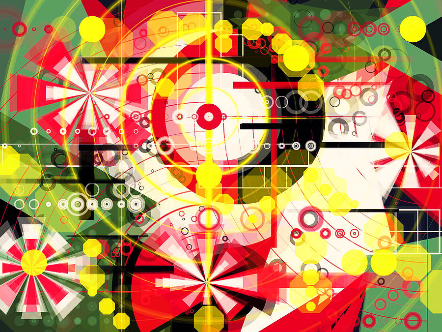 Abstract Digital Art - Feast Of Spring Red Flowers  by Mikko Tyllinen