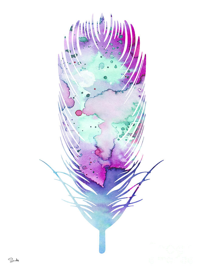 Feathers Painting - Feather 5 by Watercolor Girl