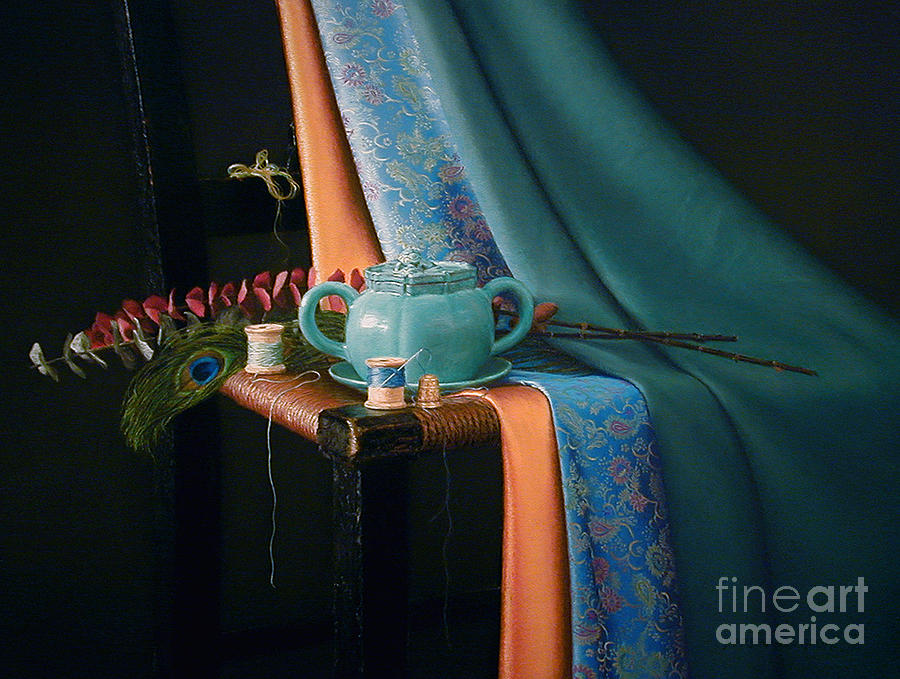 Teapot Painting - Feather And Threads by Barbara Groff