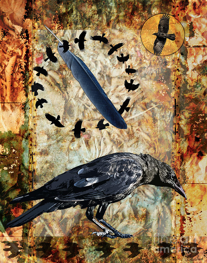 Crow Digital Art - Feather Of Remembering by Judy Wood