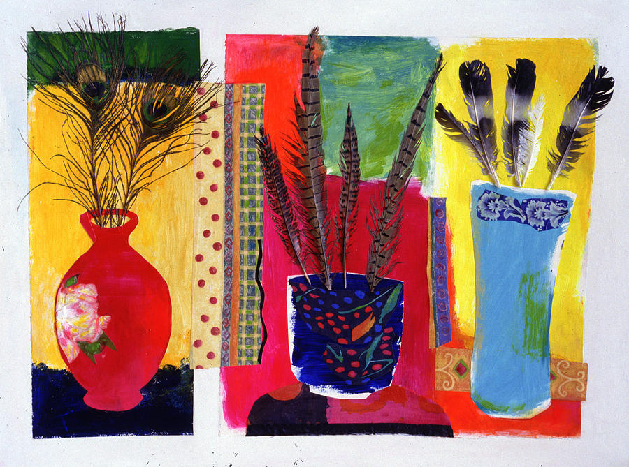 Flowers In A Vase Mixed Media - Feathered Triptych by Diane Fine