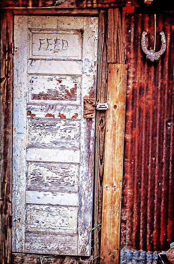 Feed Photograph - Feed Room Door by Kelly Kitchens