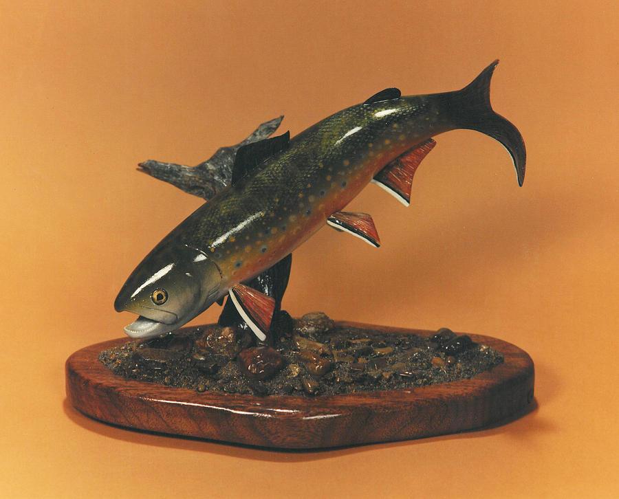 Caught Fish Sculpture - Feeding Brookie by Kent L Gordon