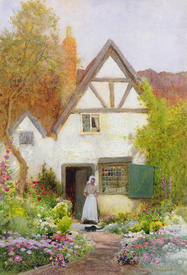 Cottage Painting - Feeding The Cat by Arthur Claude Strachan