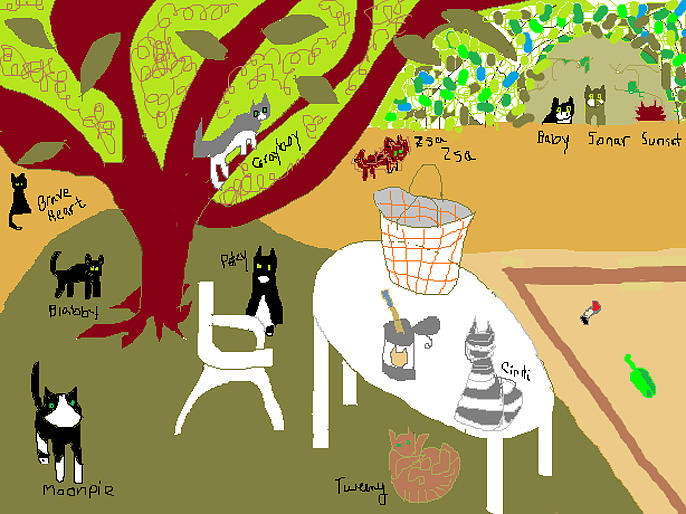 Cat Painting - Feeding The Cats At The Park by Anita Dale Livaditis