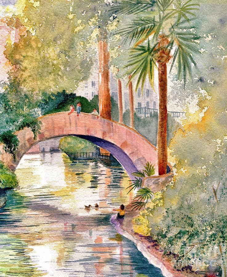 River Painting - Feeding The Ducks by Marilyn Smith