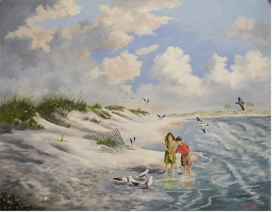 2 Children Painting - Feeding The Wildlife by Wanda Dansereau