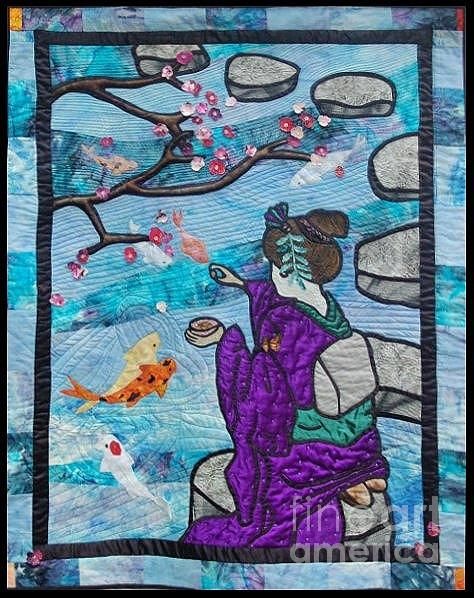 Applique Tapestry - Textile - Feeding time by Dolores Fegan