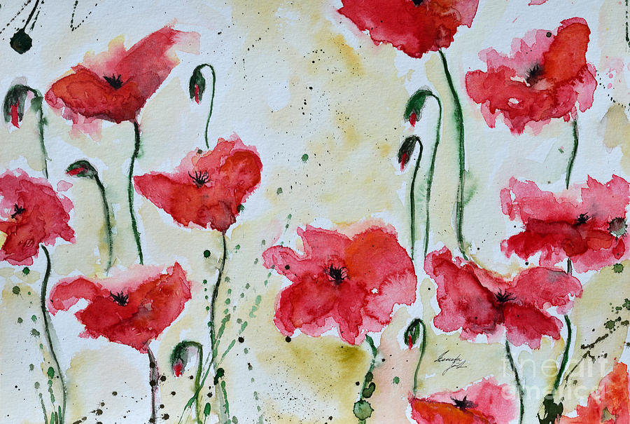 Abstract Painting - Feel The Summer 1 - Poppies by Ismeta Gruenwald