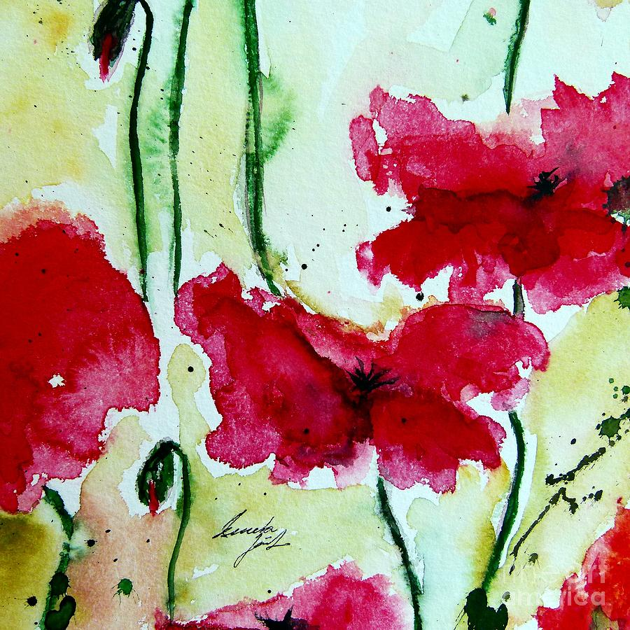 Abstract Painting - Feel The Summer 2 - Poppies by Ismeta Gruenwald