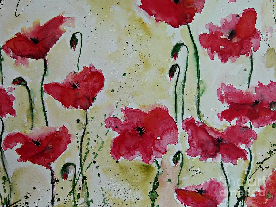 Abstract Painting - Feel The Summer - Poppies by Ismeta Gruenwald
