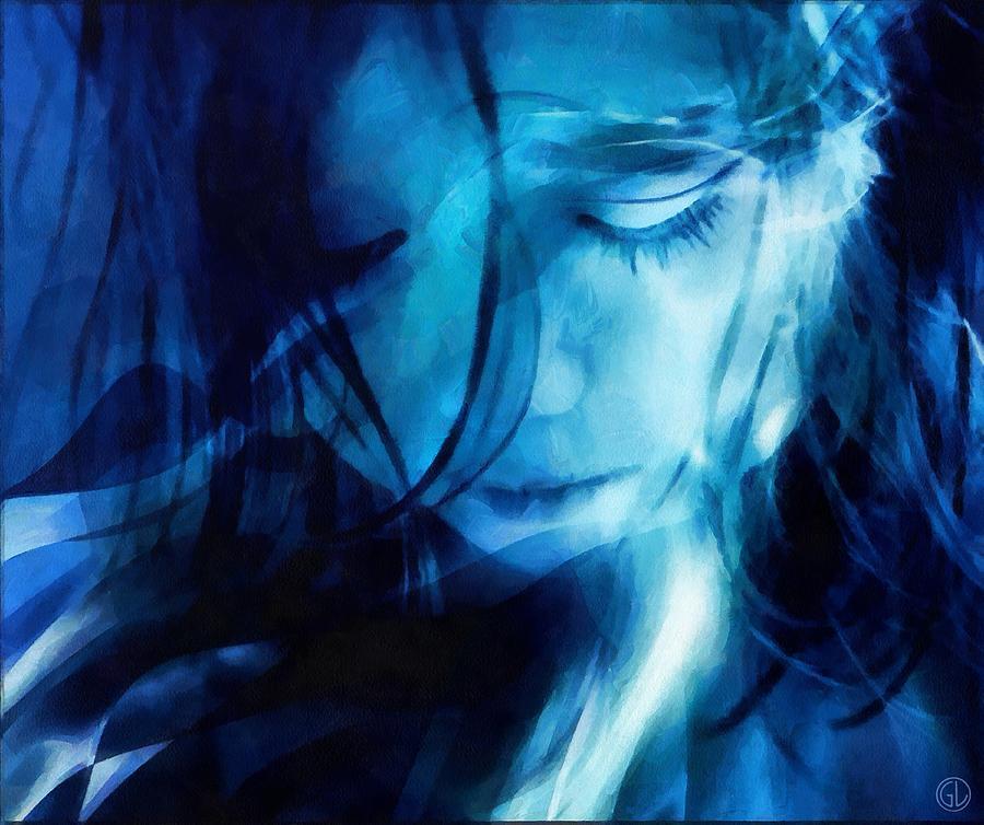 Woman Digital Art - Feeling A Little Blue by Gun Legler