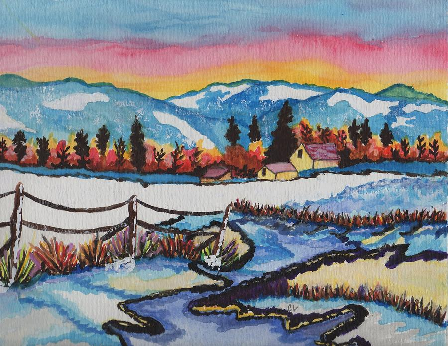 Winter Mountains Painting - Feeling Alot Like Christmas by Connie Valasco