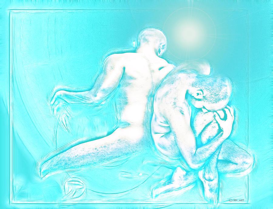 Male Digital Art - Feeling Blue Together  by Yvon van der Wijk