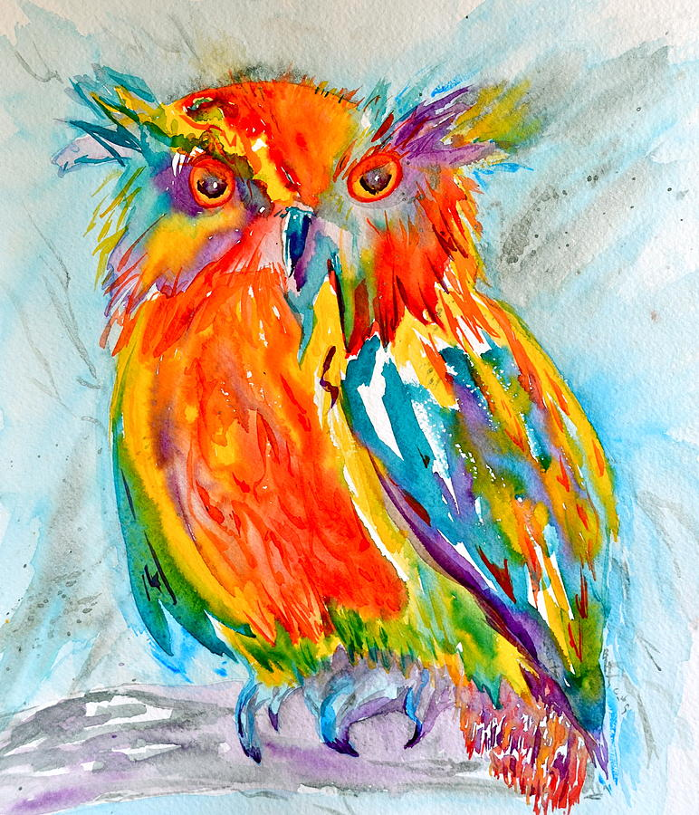 Owl Painting - Feeling Owlright by Beverley Harper Tinsley