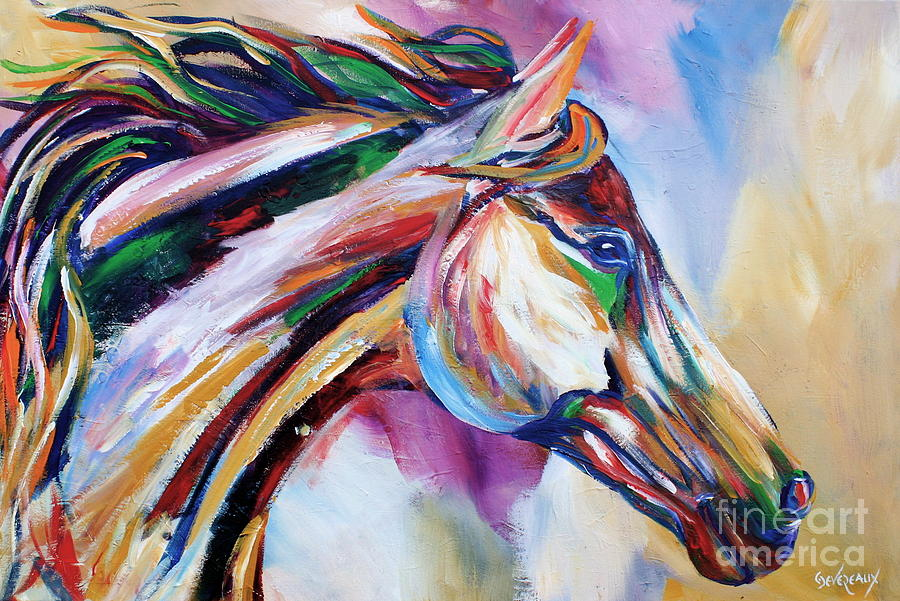 Horse Painting - Feeling The Wind by Cher Devereaux