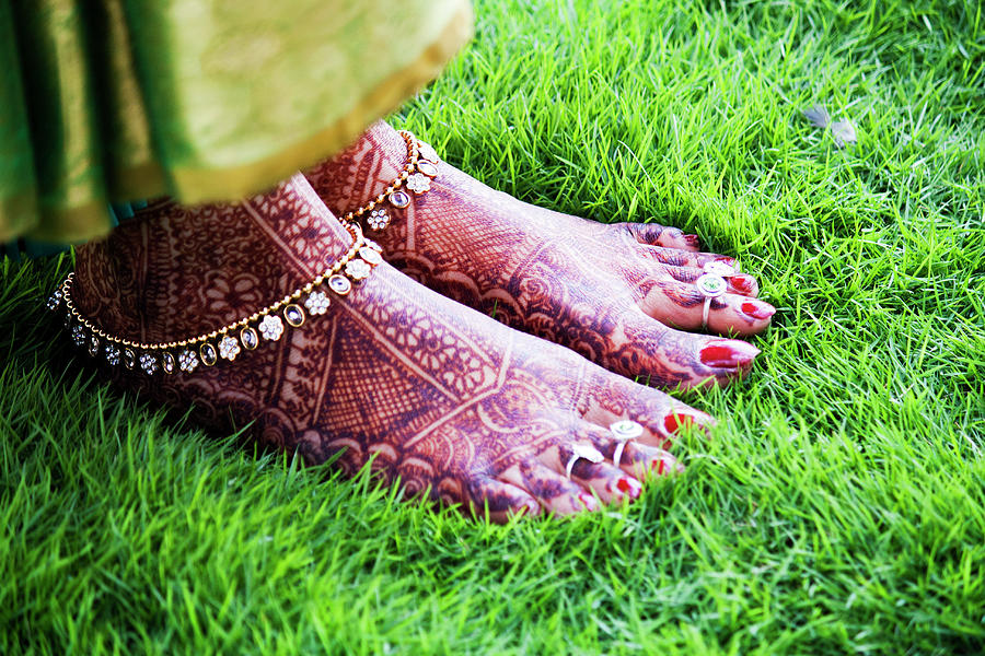 Feet With Mehndi On Grass Photograph by Athul Krishnan (www.athul.in)