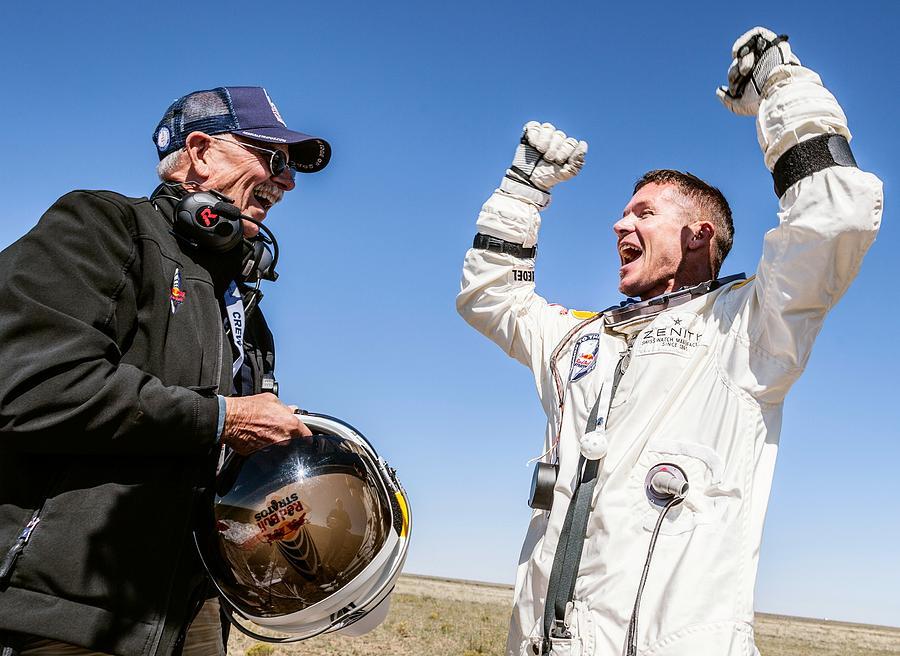Felix Baumgartner Photograph - Felix Baumgartner After Freefall by Science Photo Library
