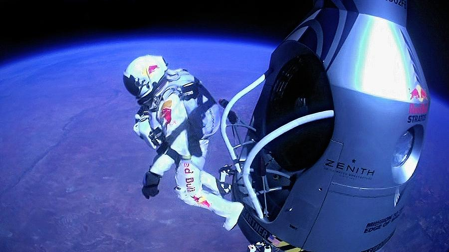 Felix Baumgartner Photograph - Felix Baumgartner Jumping From Capsule by Science Photo Library