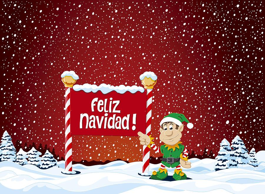 Feliz Navidad Cristmas.Feliz Navidad Sign Christmas Elf Winter Landscape