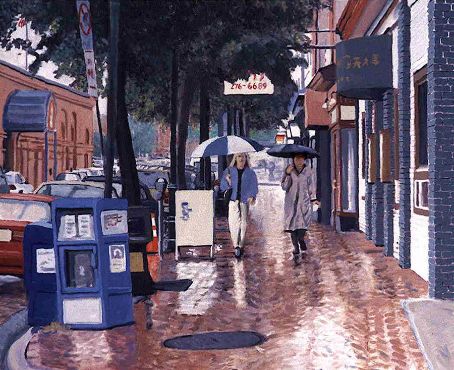 Rain Painting - Fels Point Girls by David Zimmerman
