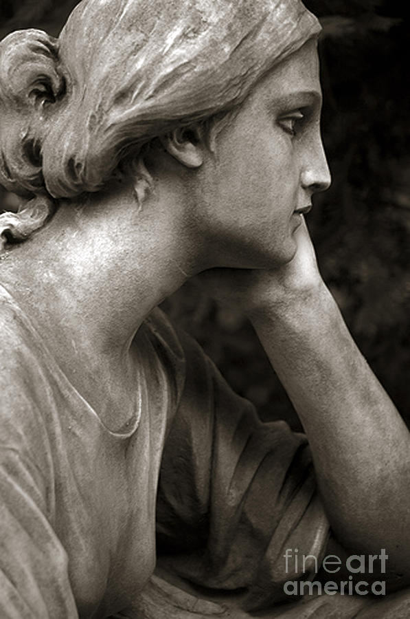 Angel Portrait Photograph - Female Angel Face Closeup - Female Angelic Face Portrait by Kathy Fornal