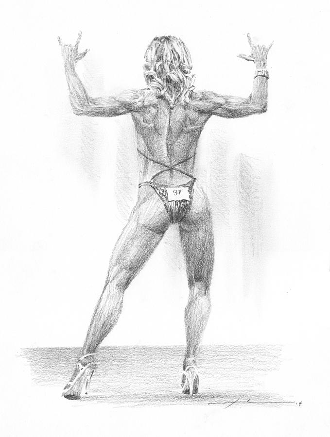 Female Body Builder Pencil Portrait  Drawing by Mike Theuer