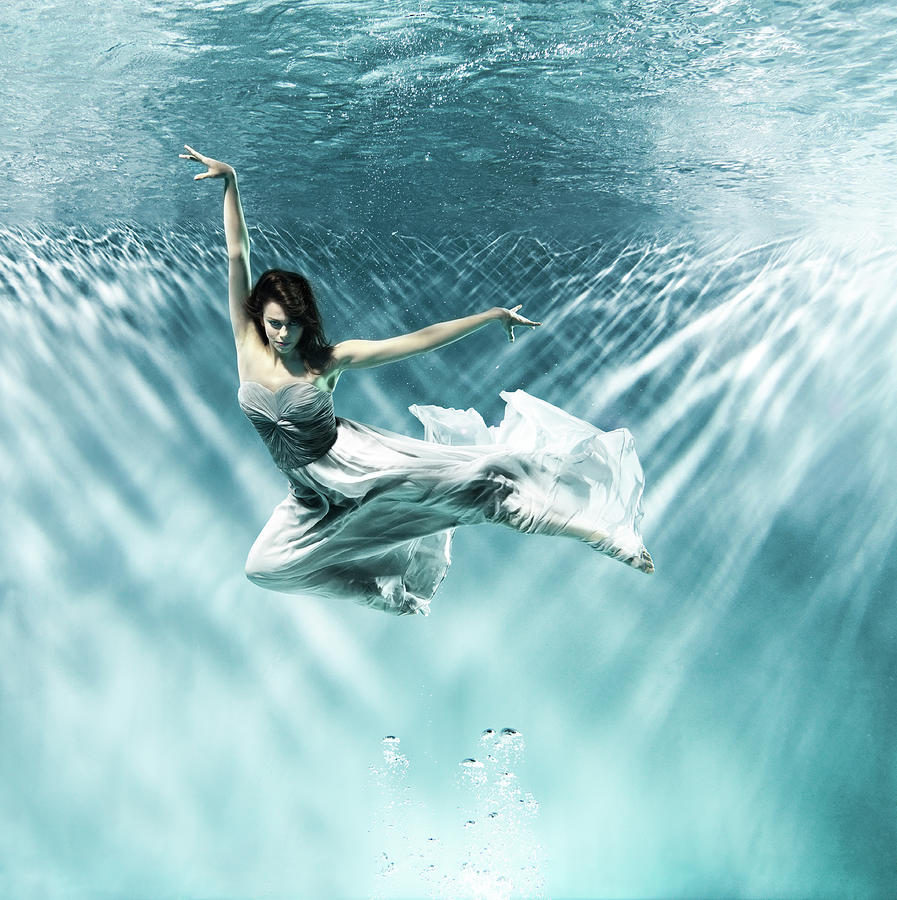 Female Dancer Under Water Photograph by Henrik Sorensen