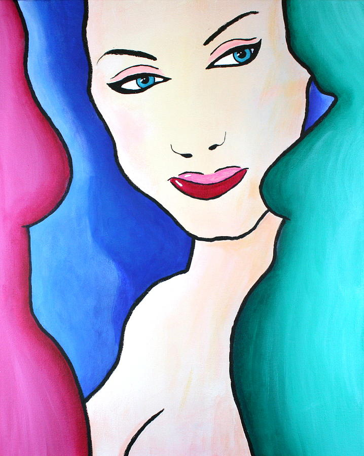 Female Painting - Female Face Shapes And Forms by Bob Baker