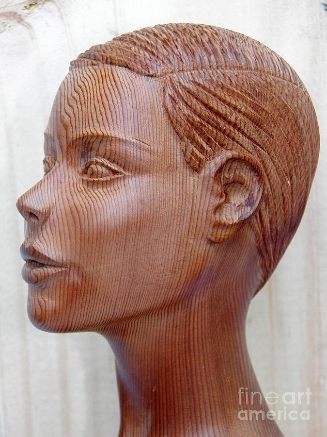 Female Head Bust - Side View Sculpture by Ronald Osborne