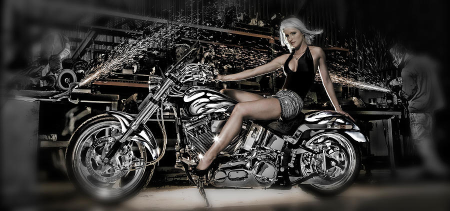 Color Image Photograph - Female Model With A Motorcycle by Panoramic Images
