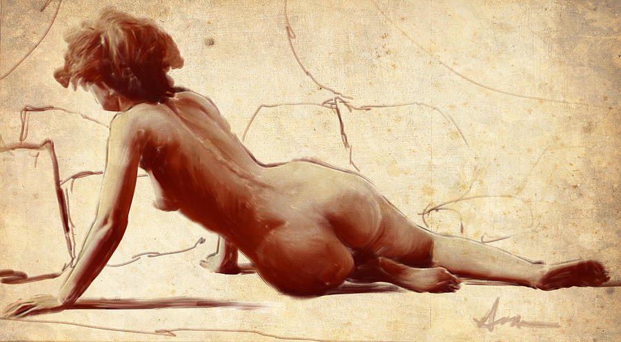 Naked female art painting by unknown