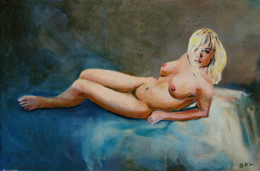 Female Nude Nikie Reclining With Blue Painting by G Linsenmayer