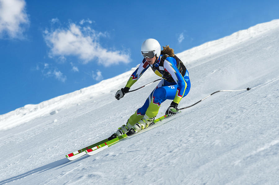 Female Skier at Straight Downhill Ski Race Photograph by Technotr