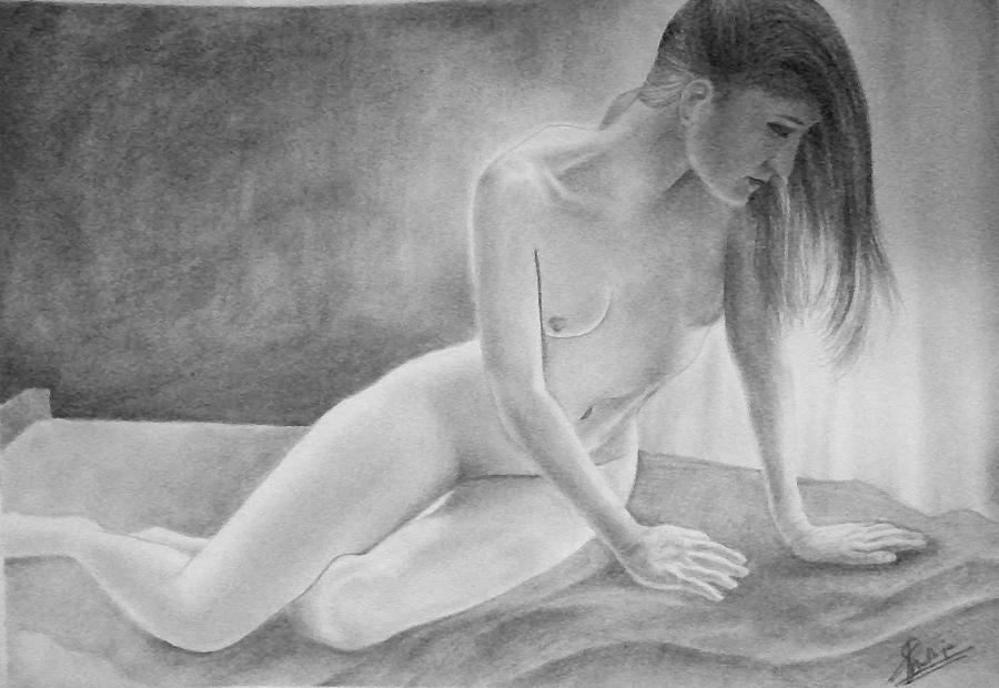 Drawing Drawing - Feminine V by Suvam Majumder