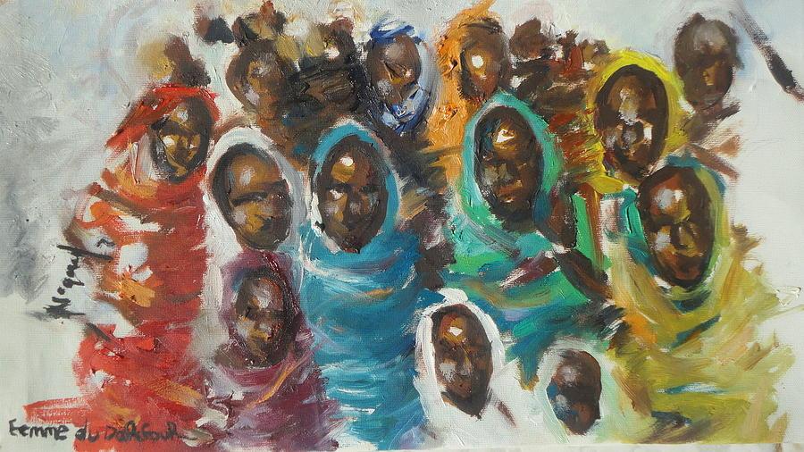 Portrait Painting - femme du Darfour by Negoud Dahab