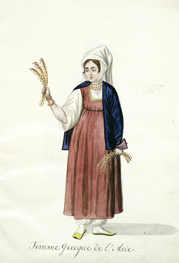 Femme Greque De Lasie A Peasant Holding Sheaves Of Wheat