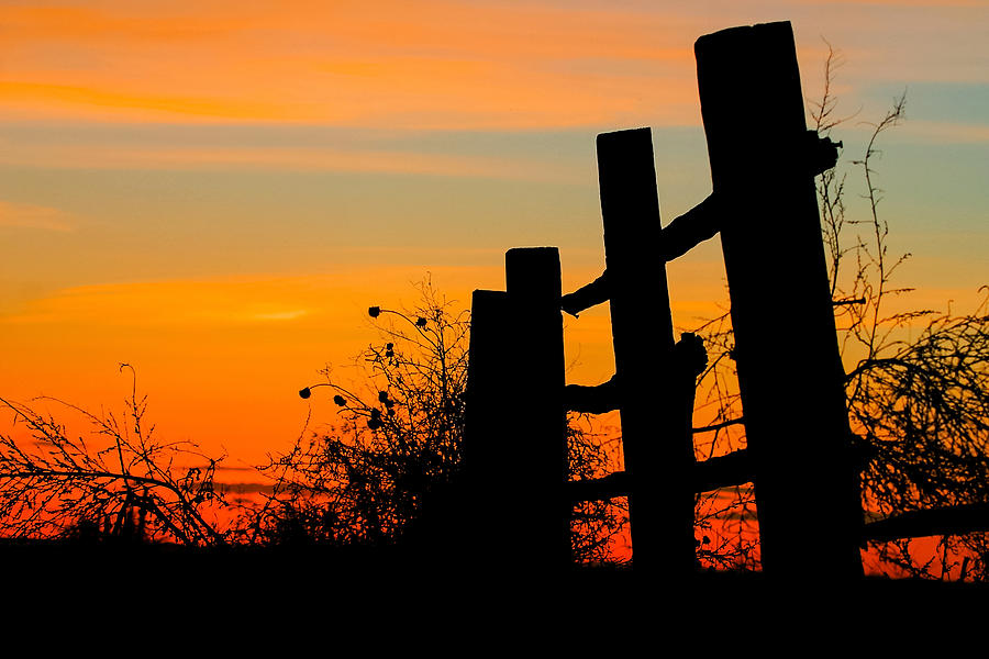 Rural Photograph - Fence Line With Vibrant Sky by Kirk Strickland