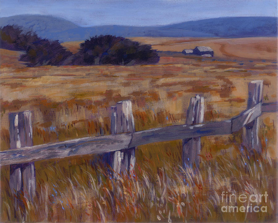 Landscape Painting - Fenced Field - Point Arenas Ca by Betsee  Talavera