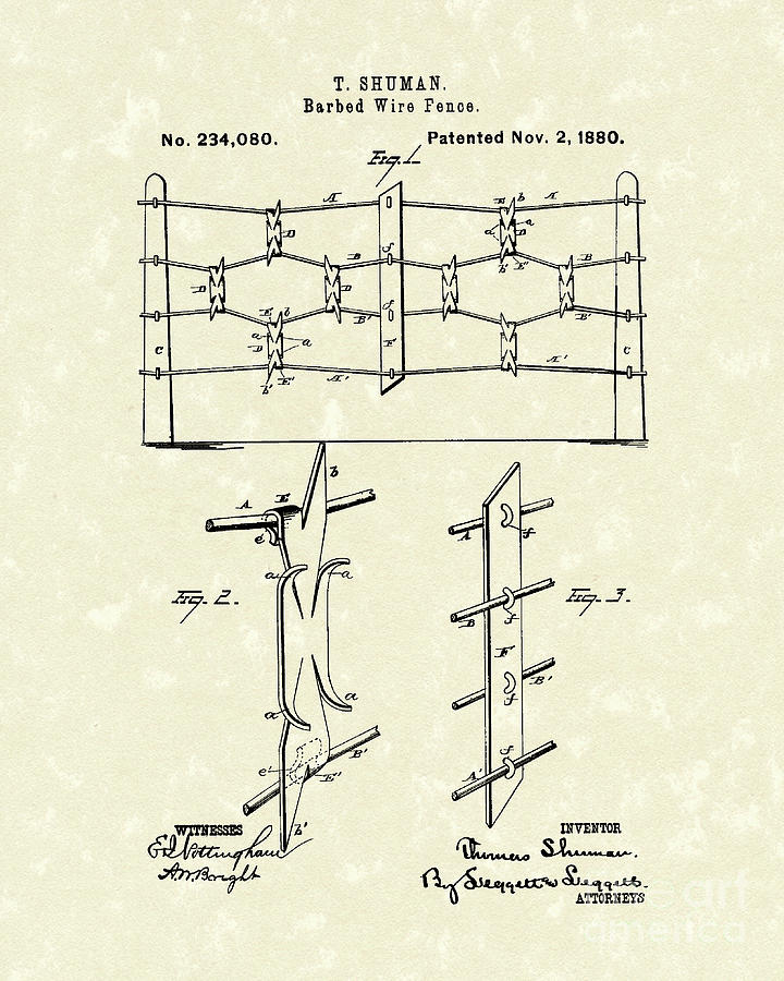 Shuman Photograph - Fencing 1880 Patent Art by Prior Art Design