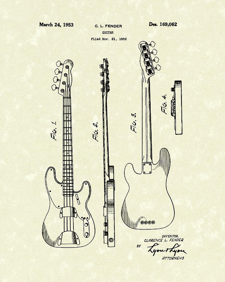 Fender Bass Guitar 1953 Patent Art Drawing By Prior Design