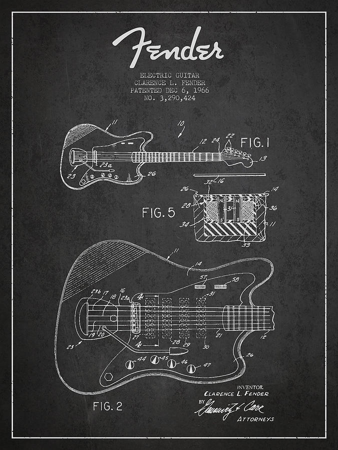 Fender Digital Art - Fender Electric Guitar Patent Drawing From 1966 by Aged Pixel