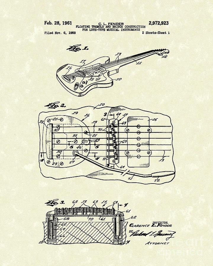 Fender Drawing - Fender Floating Tremolo 1961 Patent Art by Prior Art Design