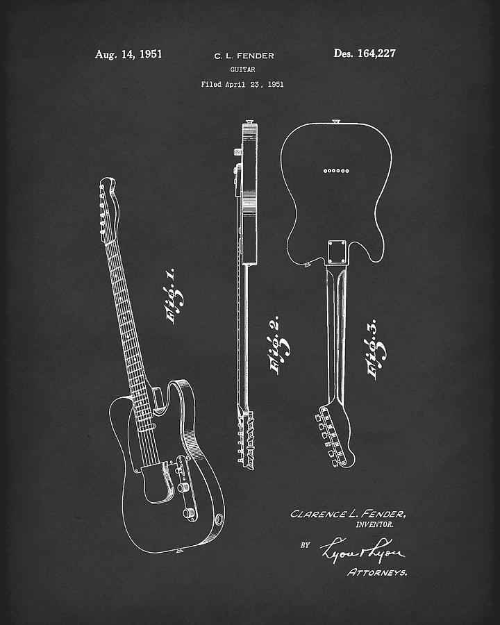 Fender Guitar 1951 Patent Art Black by Prior Art Design