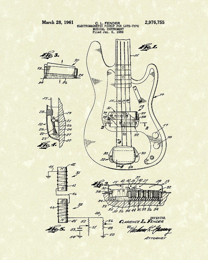 Fender Guitar 1961 Patent Art by Prior Art Design