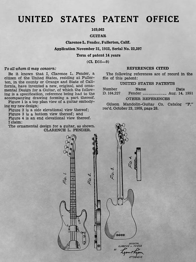 Fender Guitar Patent Charcoal Drawing