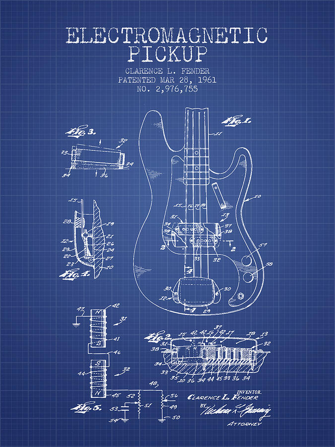 Fender guitar patent from 1961 blueprint digital art by aged pixel fender digital art fender guitar patent from 1961 blueprint by aged pixel malvernweather