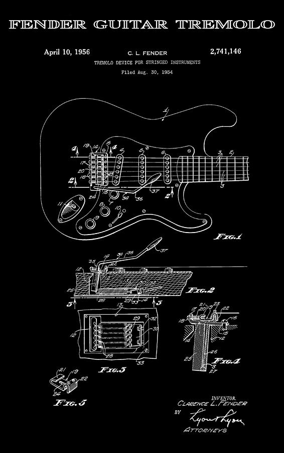 Fender Guitar Tremolo Patent Art 1956