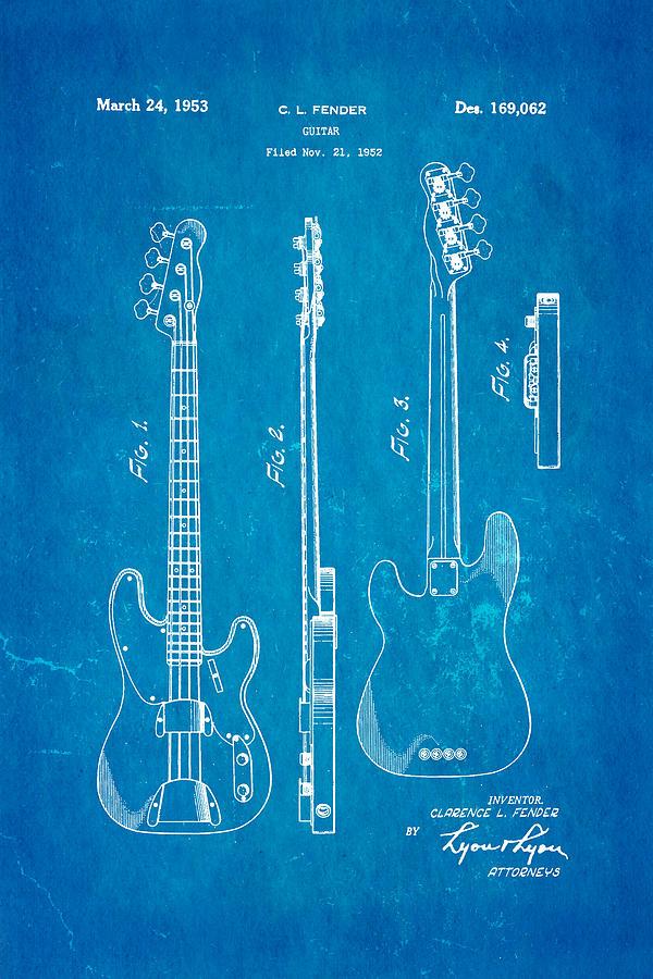 Famous Photograph - Fender Precision Bass Guitar Patent Art 1953 Blueprint by Ian Monk